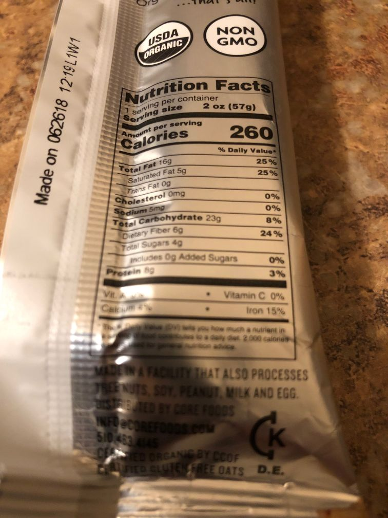 Vegan CORE Bar Nutrition Information