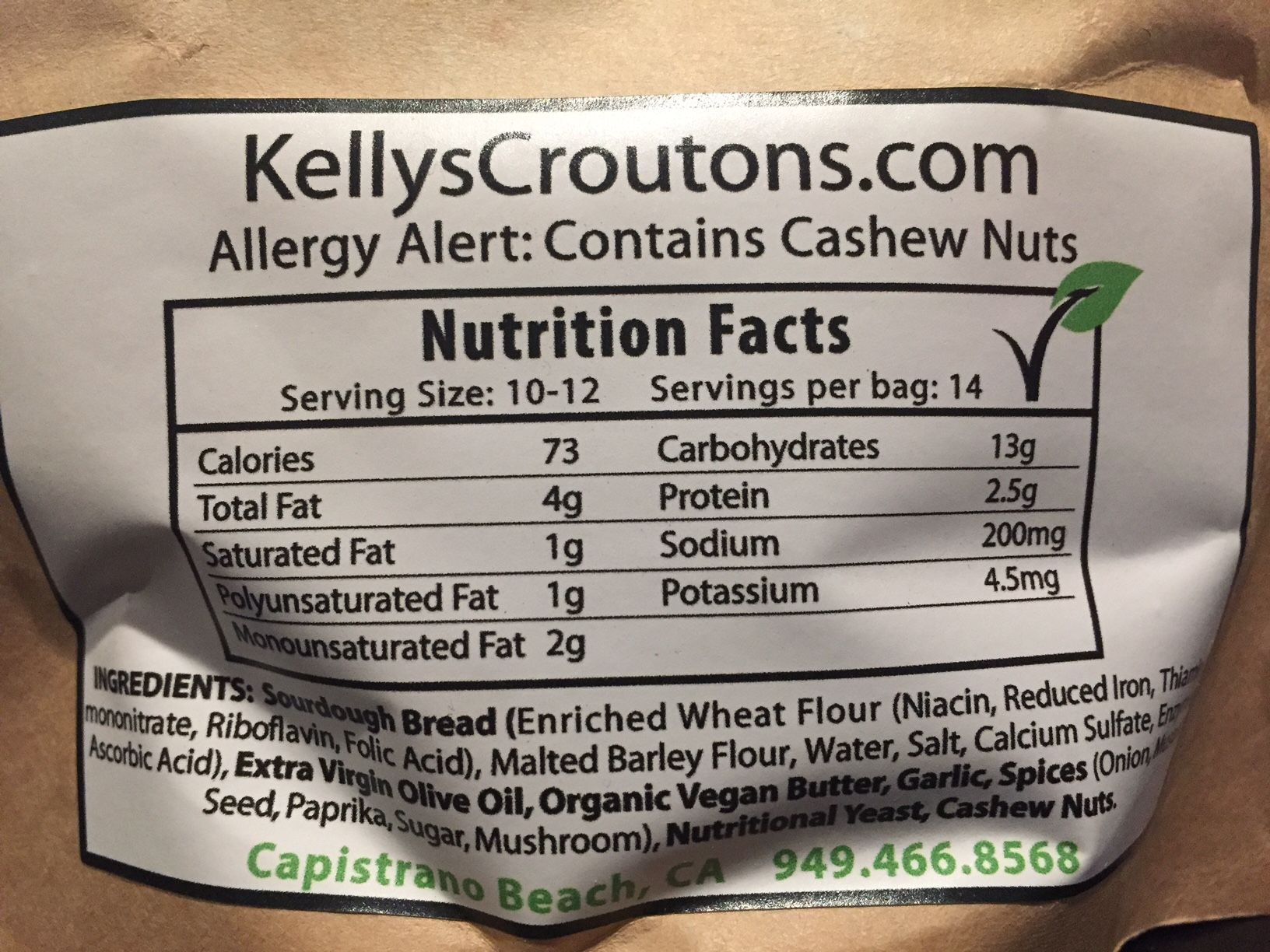 Kelly's Croutons Ingredients